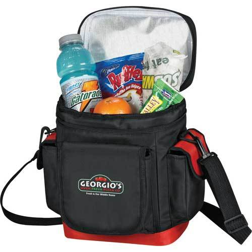 Black and red all-in-one insulated lunch carrier