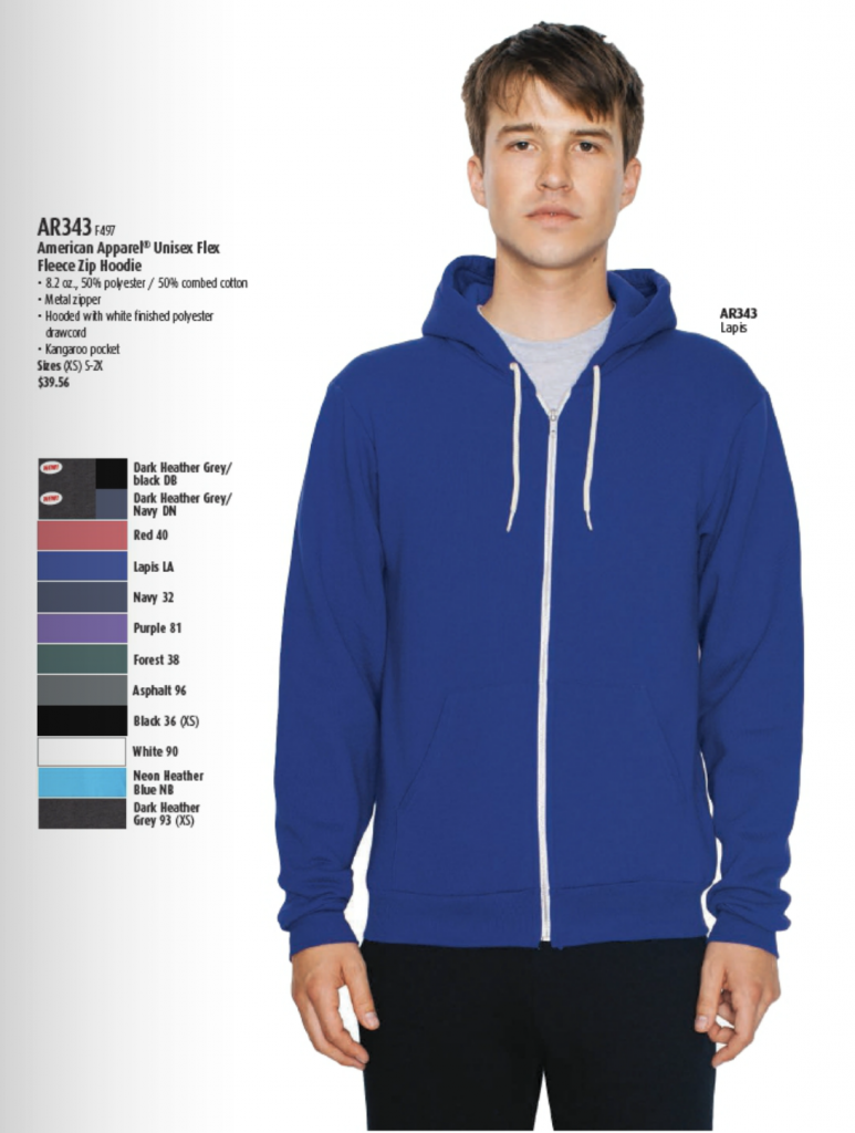 American Apparel Unisex Flex Fleece Zip, available in 12 colors