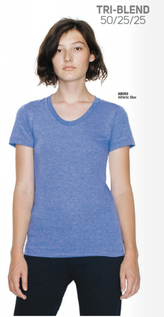 American Apparel Women's Tri-Blend. Available in many different colors.
