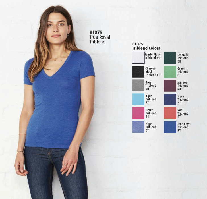 Bella + Canvas women's triblend short sleeve v-neck t-shirt