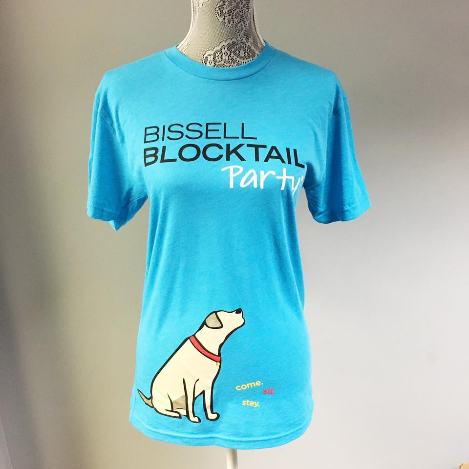 blue promotional bissell blocktail party t-shirt with black and white text and screen printed dog