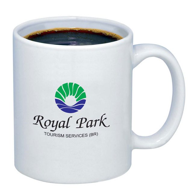 "White budget mug. Featured with ""Royal Park"" logo."