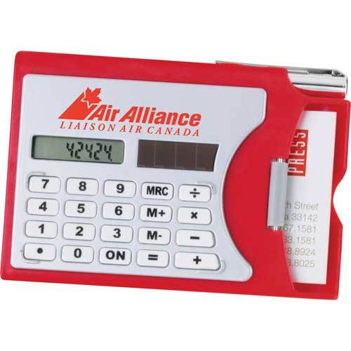 "Calculator business card holder shown in silver and red with ""Air Alliance, Liaison Air Canada"" featured."