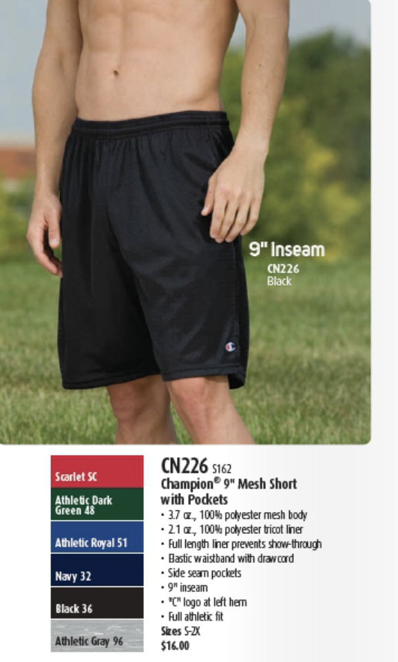 "Men's Black Champion 9"" Mesh Short with Pockets"