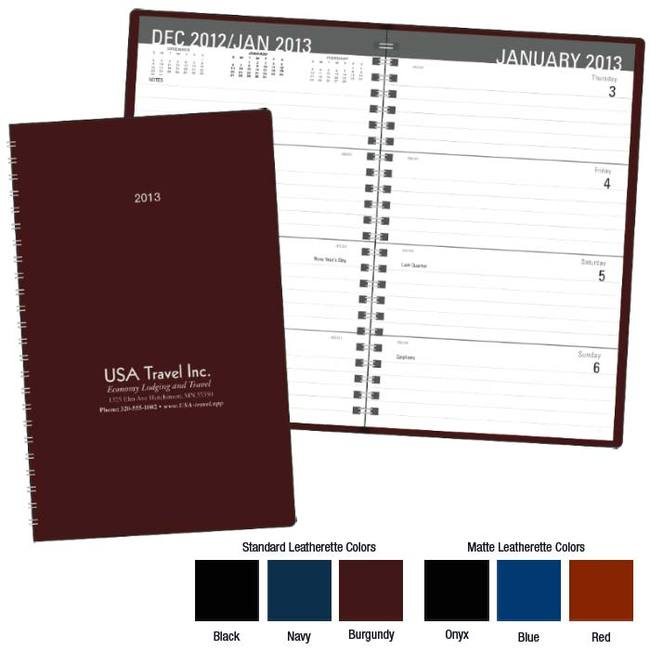 Classic weekly desk planner available in six colors: black, navy, burgundy, onyx, blue and red.
