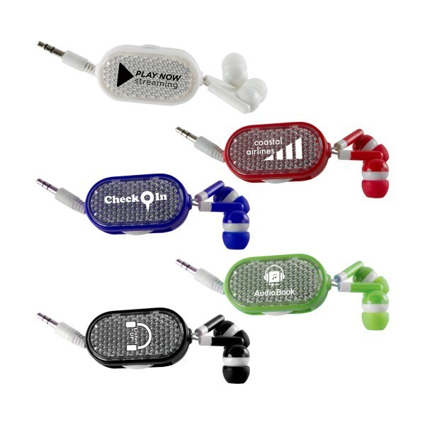 Clip-On Retractable Earbuds in white, black, red, green and navy.