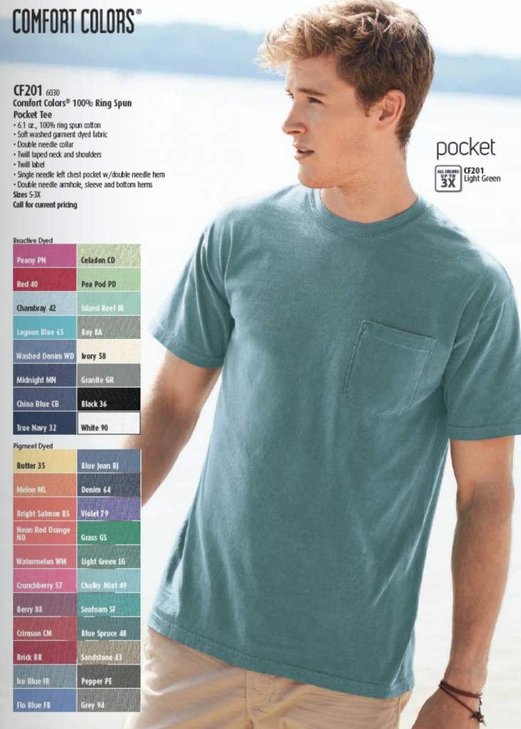 Comfort Colors pocket t-shirt available in over 35 colors.