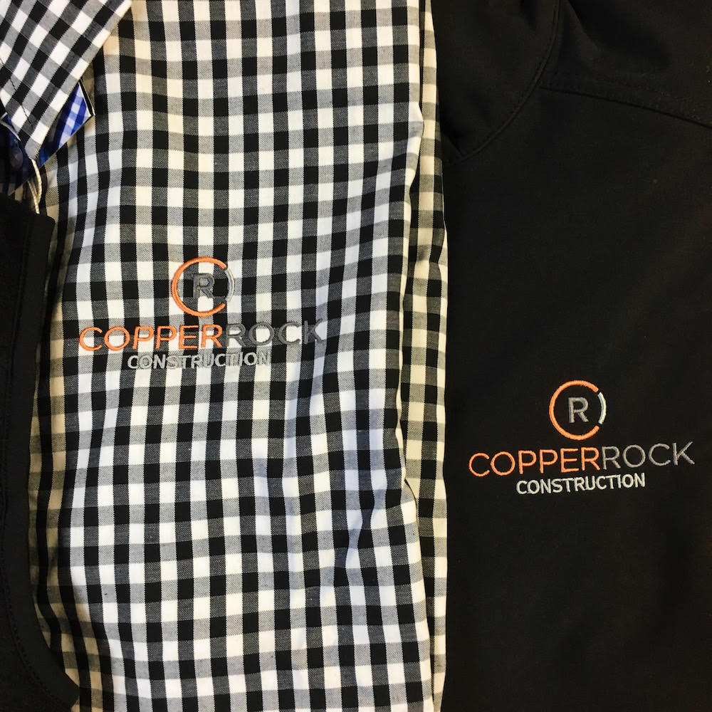 Red and gray CopperRock Construction, featured on MarkIt Merchandise's shirts