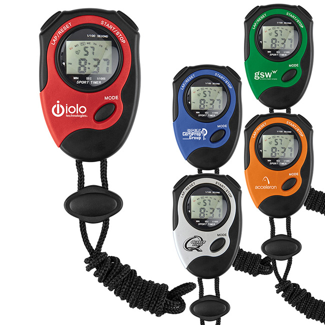 Digital stopwatch available in red, orange, green, blue and light gray.