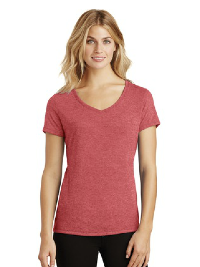 Red District Made Ladies Perfect Tri V-Neck T-Shirt