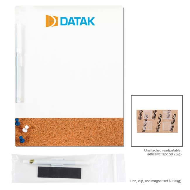 Dry-Erase Cork Combo Board with multi-colored logo on top of white board area.