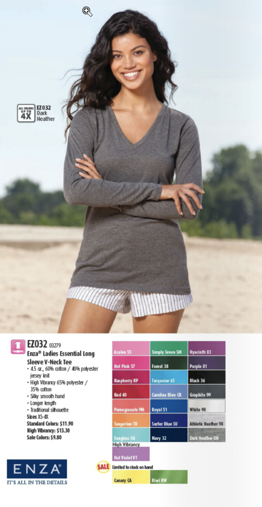 Enza Ladies Essential Long Sleeve V-Neck