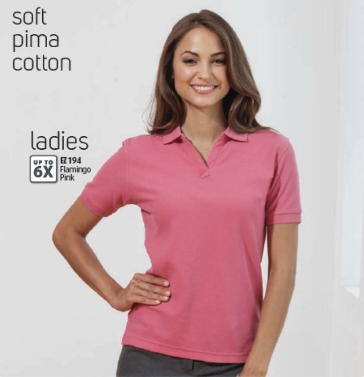 Flamingo Pink Enza Ladies Pima Cotton Sport Shirt. Available in many colors at MarkIt Merchandise.