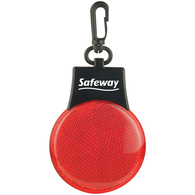 Red flashing reflector light with one color logo