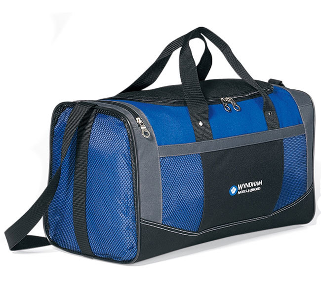 Dark blue and black flex sport bag with two color logo.