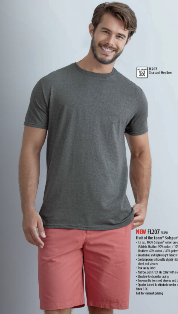 Available in many colors, this Fruit of the Loom Sofspun T-Shirt is available at MarkIt Merchandise and perfect for a casual day.