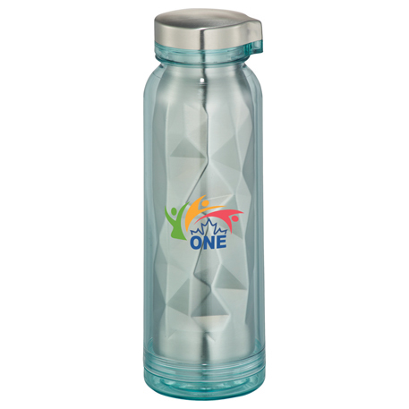 Teal Geometric Stainless Steel Water Bottle