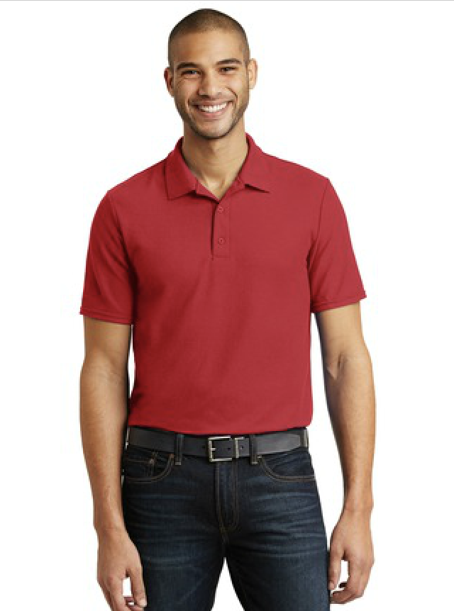 Gildan dryblend red polo shirt. Available at MarkIt Merchandise