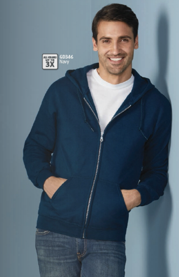 Gildan DryBlend Full Zip Sweatshirt in navy. Available in many colors.