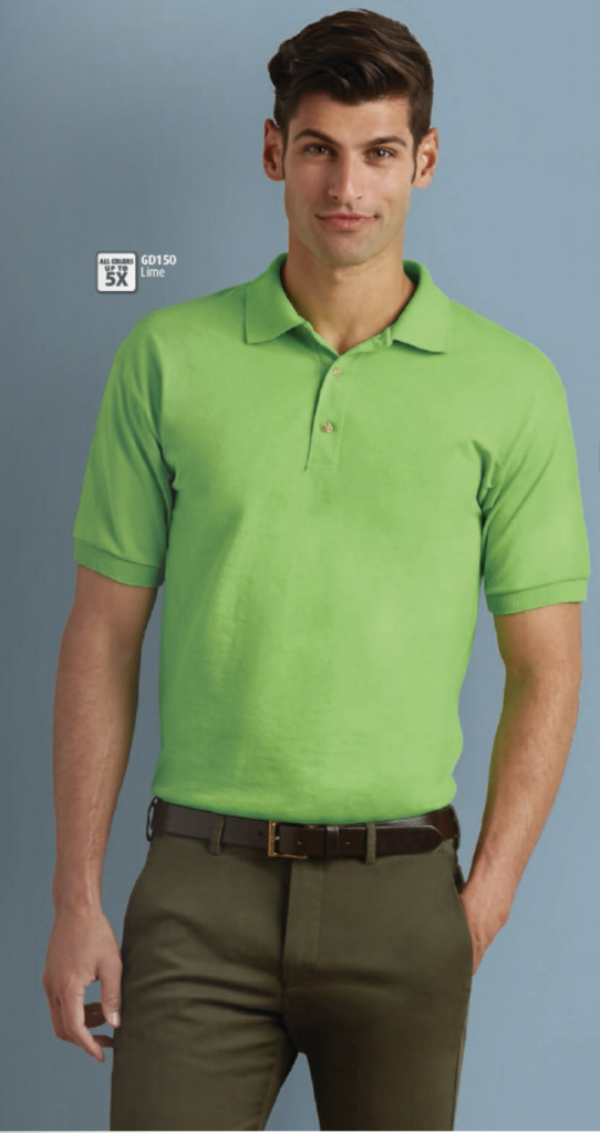 Light green Gildan dryblend jersey polo shirt