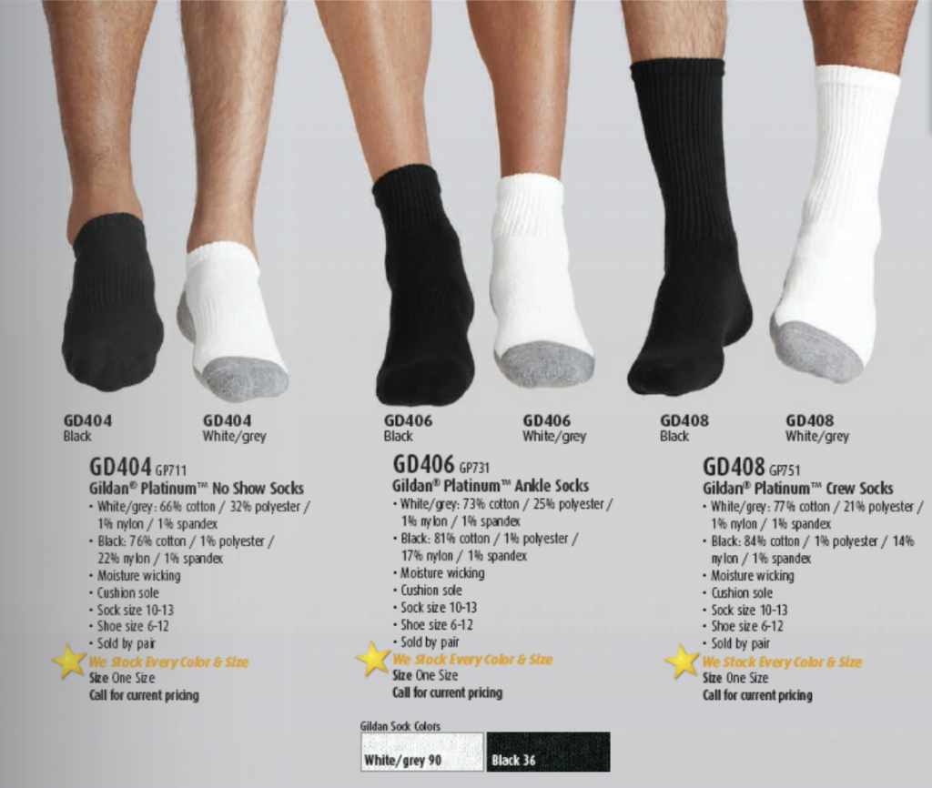 White, black and white Gildan Platinum Socks