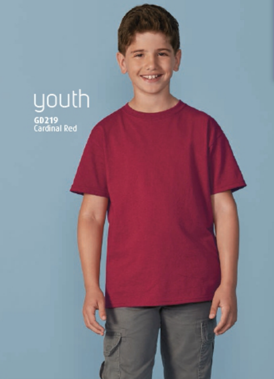 Cardinal Red Gildan Ultra Cotton Youth T-Shirt, available many colors. Call MarkIt Merchandise for a quote.