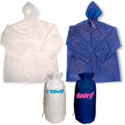 Promotional blue and white hooded rain slicker with pouch.