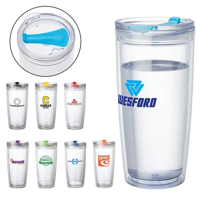 Hot & Color Tumbler with different color top and logos.
