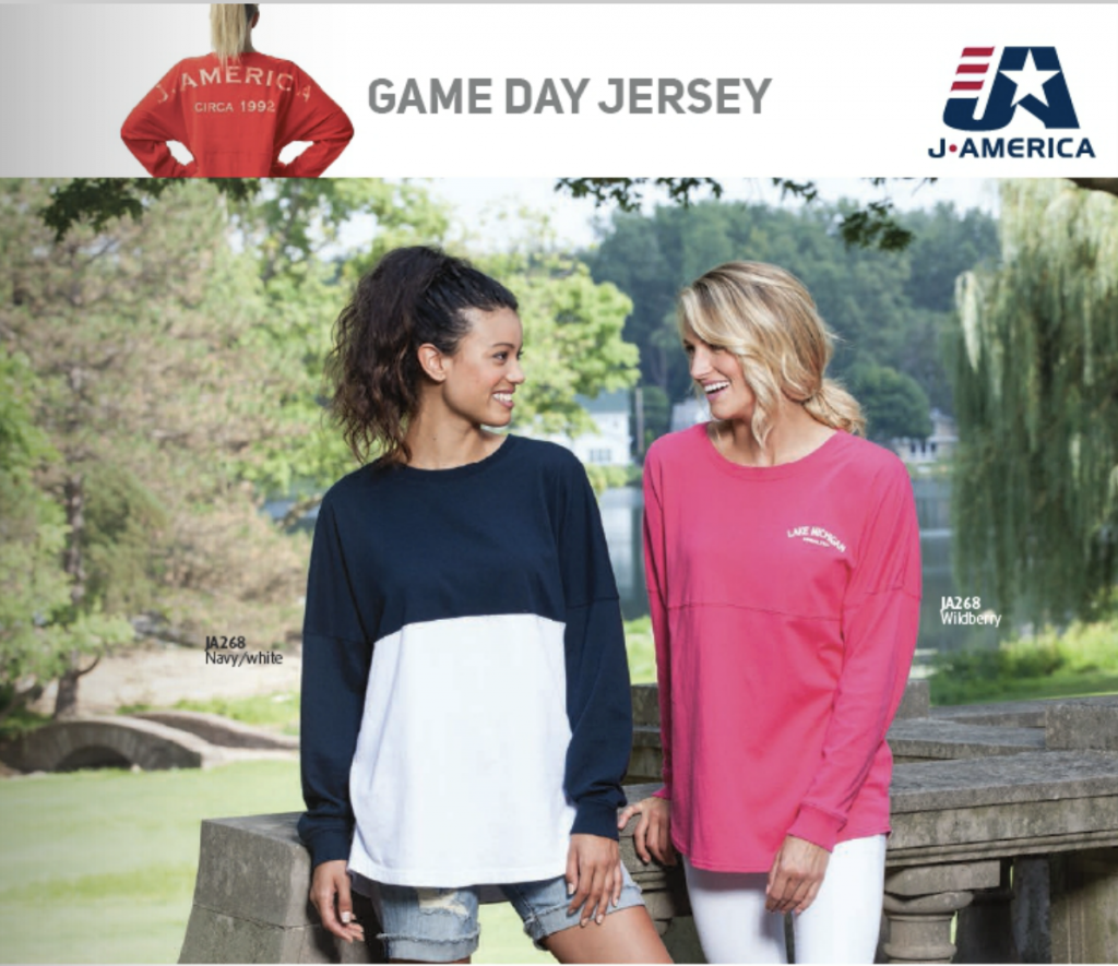 J-America Game Day Jersey, featured in white/navy and pink.