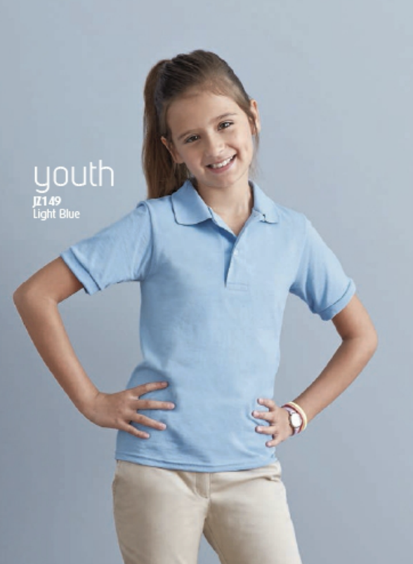 Light blue jerzees youth jersey sport polo shirt. Available at MarkIt Merchandise.