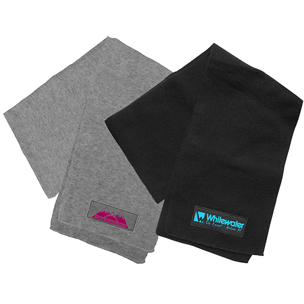 Black and gray knit scarves with a one color logos. Call MarkIt Merchandise for a quote!