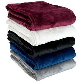 Mink Touch Blanket available in burgundy, white, black, navy and gray.