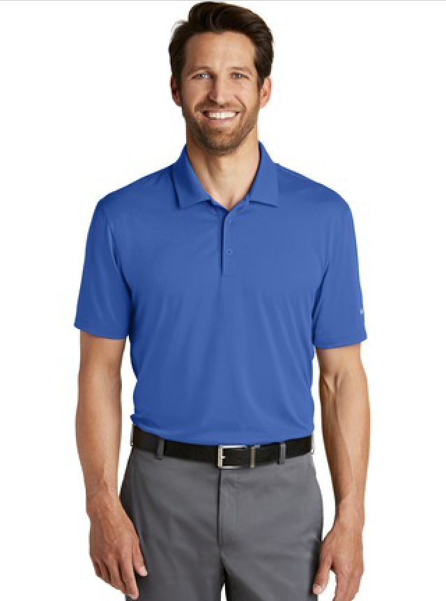 Blue Nike Golf Dri-Fit Polo. Available in many colors.