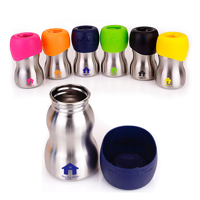 Silver water bottle available with 6 different colored tops.