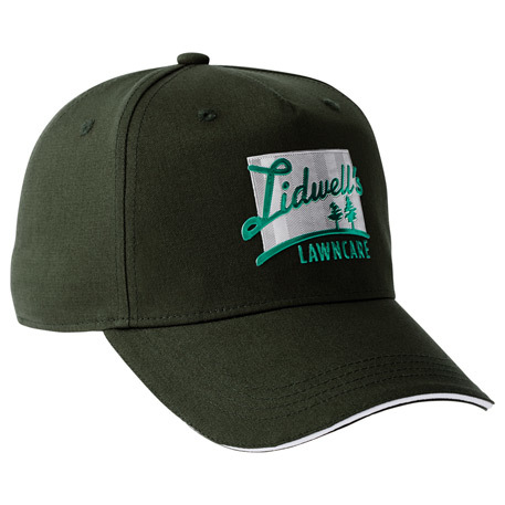 Dark green ballcap with two color embroidered logo.
