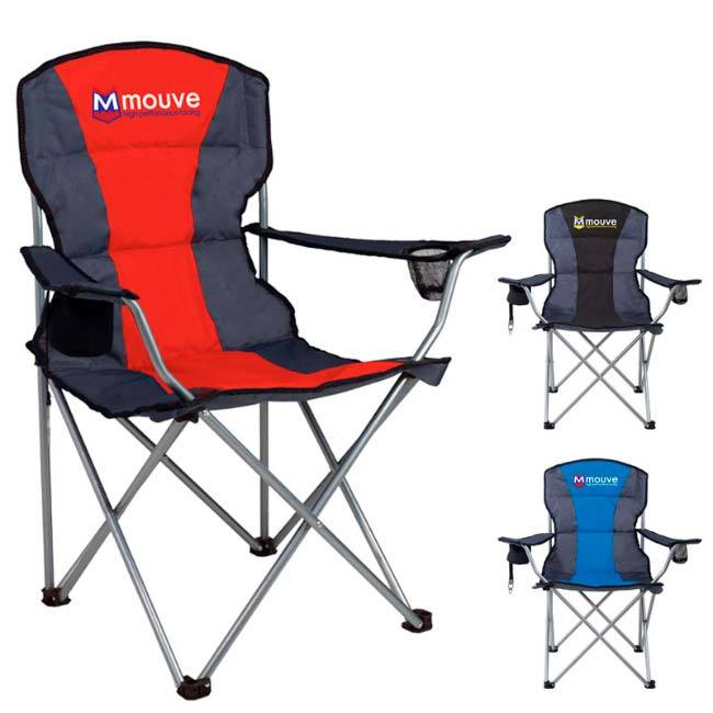 Red, blue, black camping stripe chairs