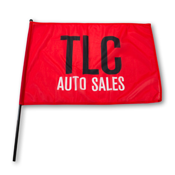 Red rally flag with two colored logo