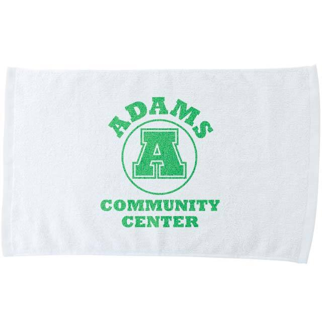 White rally towel with Adams Community Center logo.