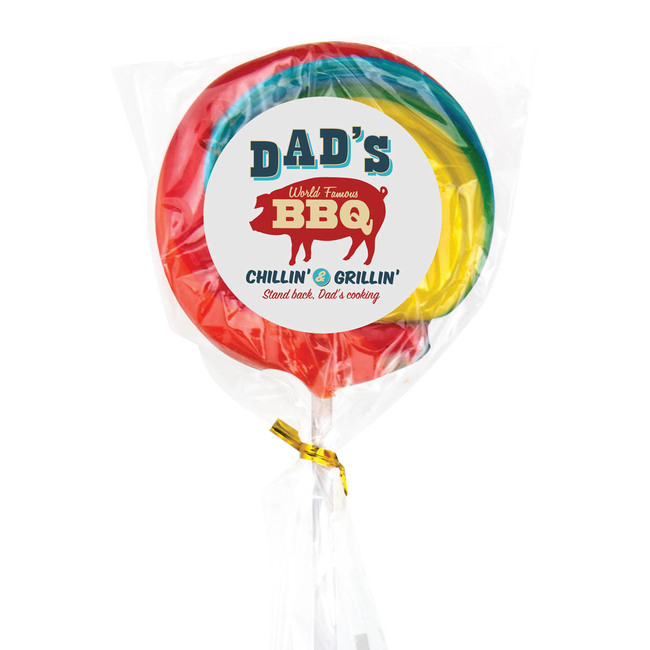 Retro Swirl Lollipop with multi-colored logo.