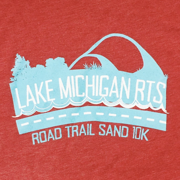 Red T-shirt with Lake Michigan Road Trail Sand 10K and teal and white logo