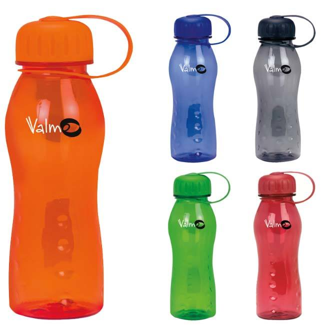 Slim Polly water bottles available in orange, blue, green, navy, and black.