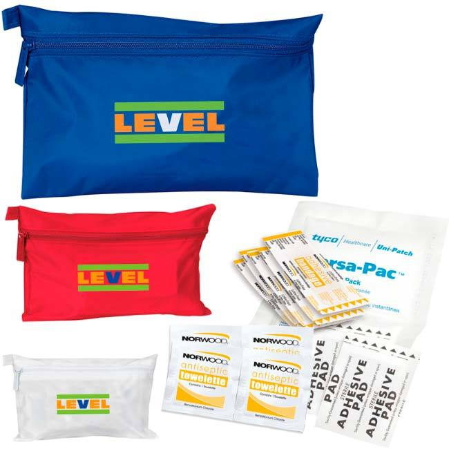 Sports injury first aid kit with antiseptic towelettes, band-aids, adhesive pads and ice packs.