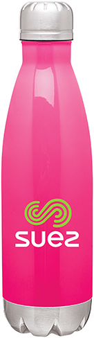Pink stainless thermal bottle with multi-colored logo. Call MarkIt Merchandise for a quote!
