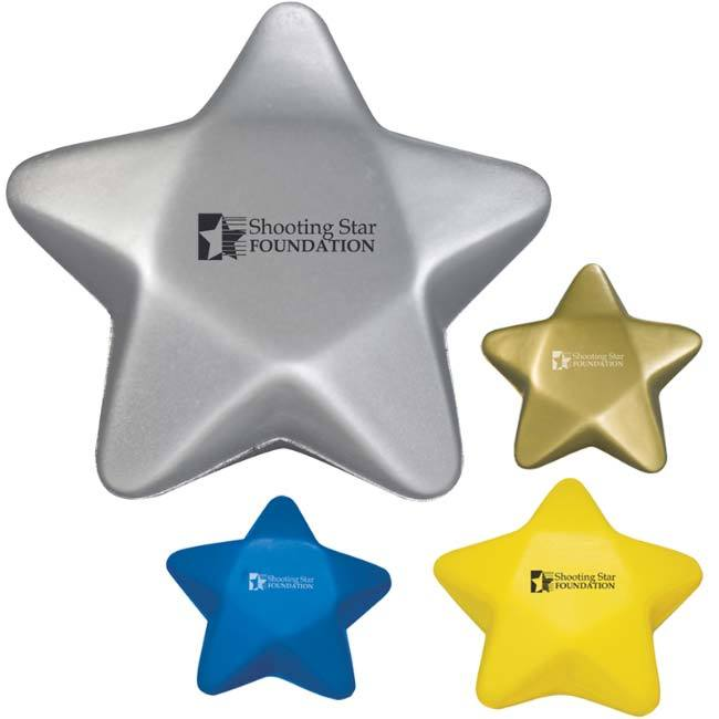 Silver, navy, gold and yellow star stress ball