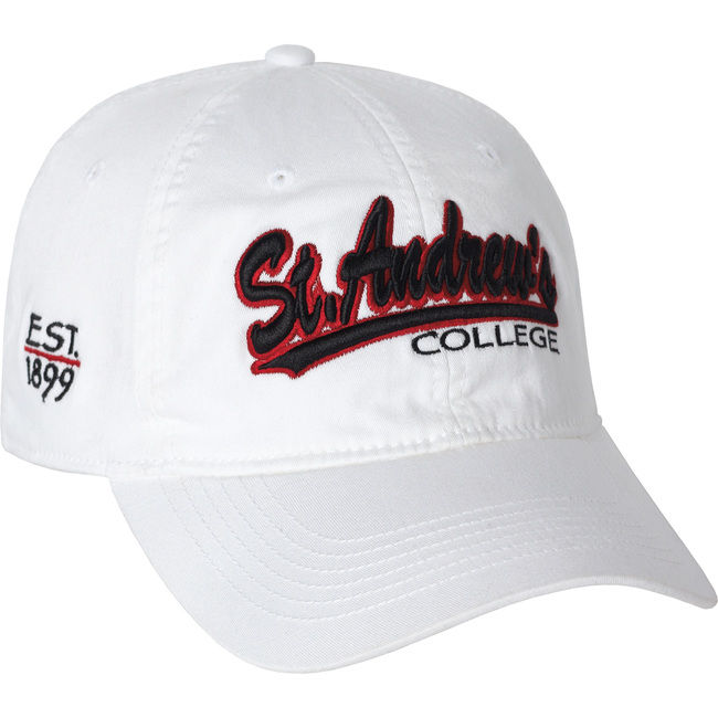 White stretch-fit cap with two color embroidered logo