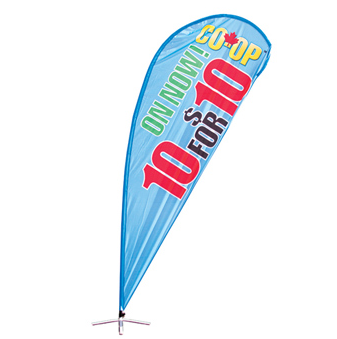 blue teardrop banner with multi-colored logo.