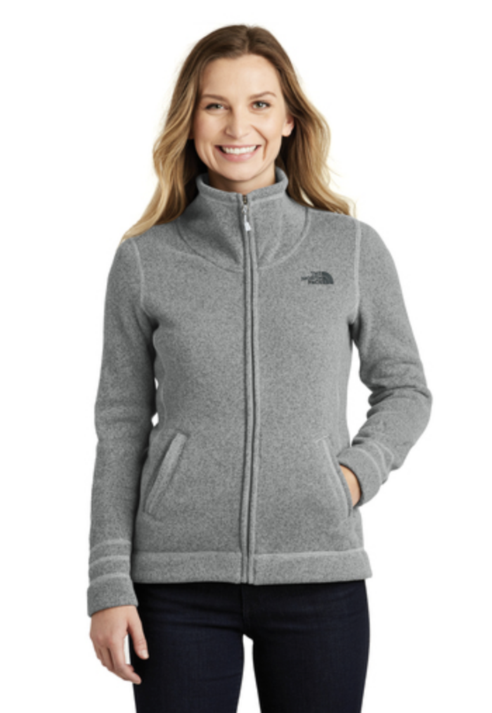 North Face Ladies Sweater Fleece Jacket, featured in gray. Call MarkIt Merchandise for quote or for more information.