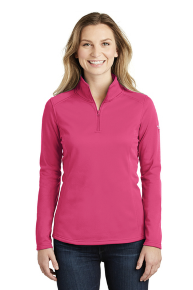 The North Face Ladies Tech 1:4- Zip Fleece. Featured in bright pink. Available in different colors