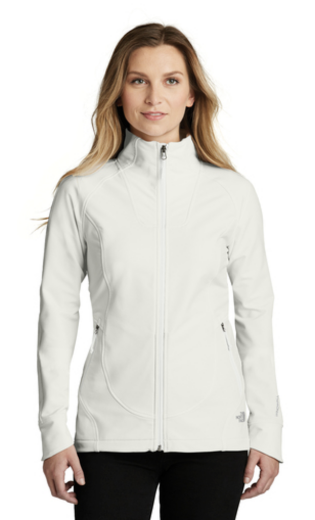 The North Face Ladies Tech Stretch Soft Shell Jacket, featured in white.
