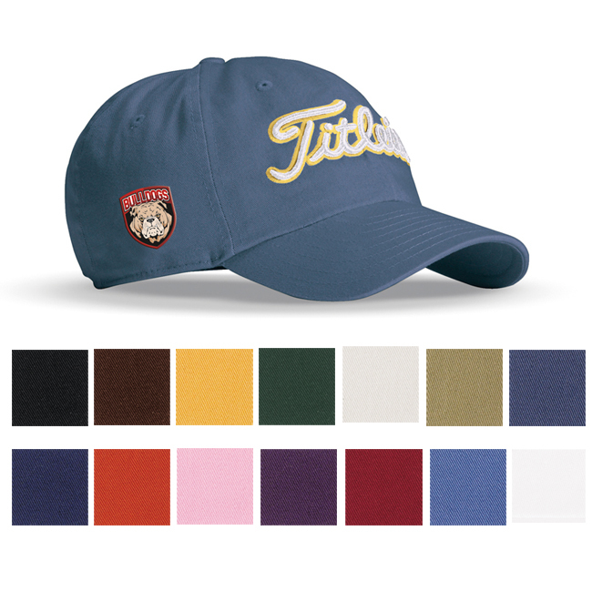 Chino Twill Navy cap available in 14 different colors and multi-colored embroidered logo.